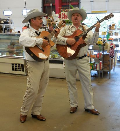 duet: July 26, 2015 - Arden, NC - Mariacci duet entertaining visitors at the farmers market