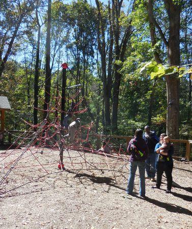 wnc: October 17, 2015 - WNC Nature Preserve - Younger visitors enjoy the arachnid adventure Editorial