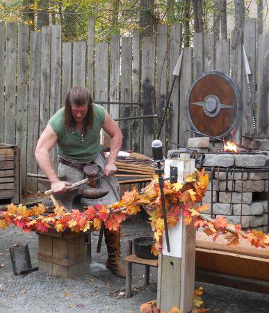 renaissance: October 31, 2015 - Huntersville, NC - a Renaissance Festival blacksmith