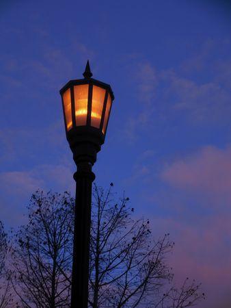 Street lamp at dawn Stock Photo