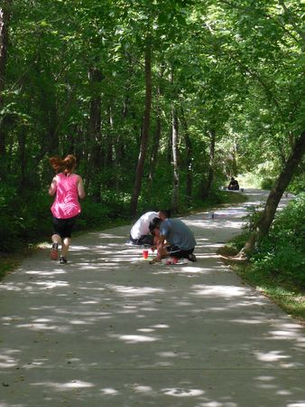 Editorial - June 17, 2017 - Fletcher, NC - Exercise path painted with flowers for young athletes