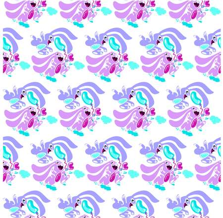 Bunnies running on puddles with balloons pattern seamless