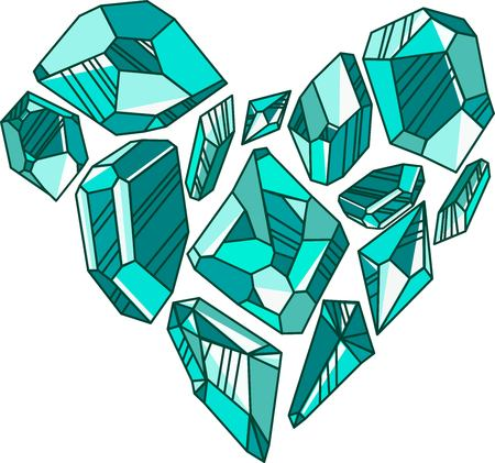 Green crystals are shaped in the form of a heart postcard Imagens - 114892388