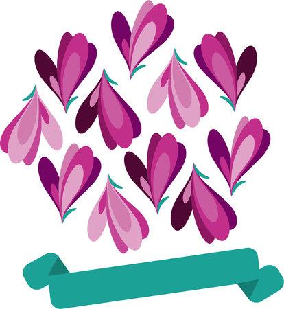 Pink flowers-heard postcard