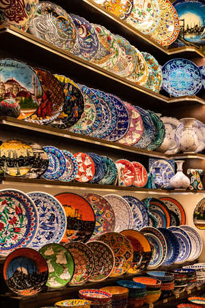 Colorful handmade plates sold as decoration/souvenirs in the closed Bazaar (Kapali Carsi). Istanbul, Turkey.