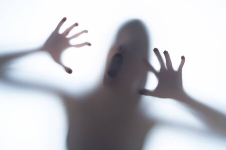 Blurred silhouette shadow of a terrorific body shape behind a white background showing head and creepy fingers. Horror concept of a visitor from out of space, UFO or aliens. Banque d'images