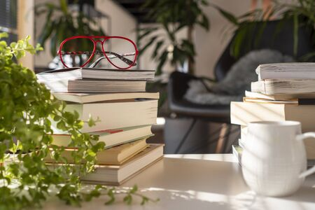 Inside a green house with many plants. A pile of different books on a with table with red glasses and a cup of coffee at sunset Imagens