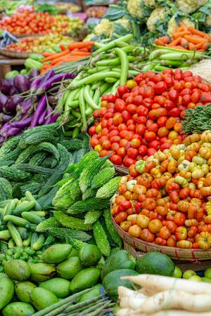 Fresh and colorful vegetables and fruits variety for sale on a street market