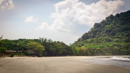 Sin Htauk Beach in Myanmar. A Paradise hidden beach and difficult to access with a small hotel with bungalows