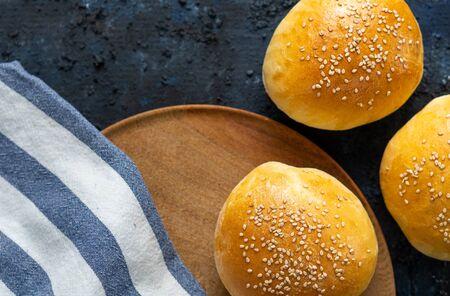 Close up of homemade burger buns, fresh baked