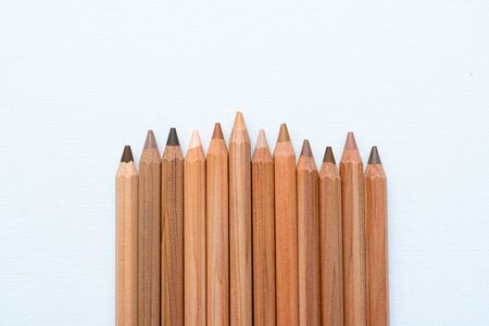 Different neutral color skin pencils aligned on a white canvas Imagens