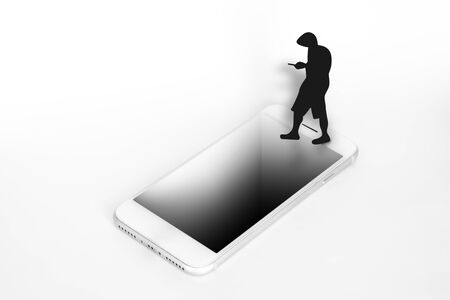 A man silhouette distracted looking at his phone and almost falling on a hole on a smartphone Imagens