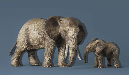 A baby and a mother elephant isolated on a blue background