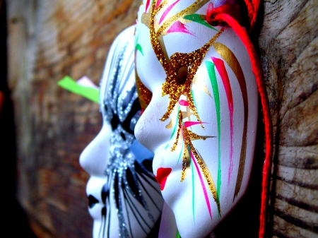 masquerade masks: Two beautiful Venetian masquerade masks