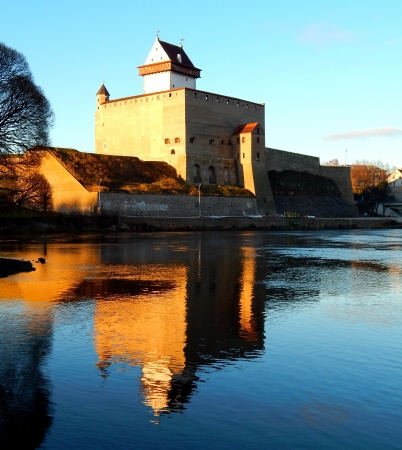 Narva castle in Estonia with reflection