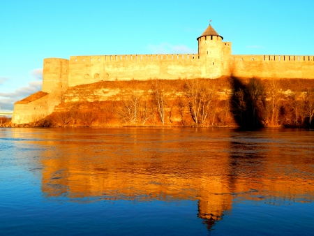 Ivangorod fortress at the border of Russia and Estonia photo