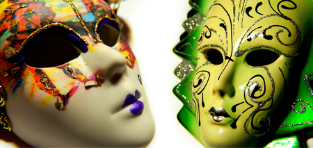 Beautiful masquerade masks isolated in collage photo
