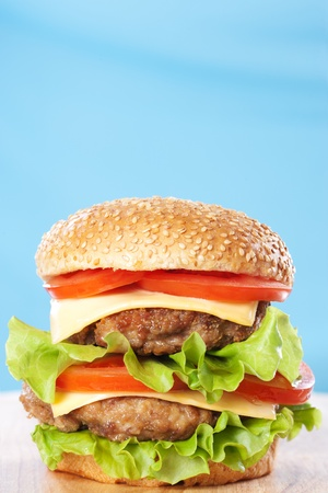 Double cheeseburger with tomatoes and lettuce on blue background photo