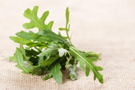 Ruccola salad fresh heap leaf on burlap