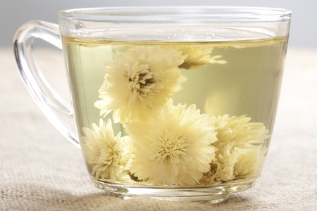 hot drink: A cup of flower tea, from chrysanthemums