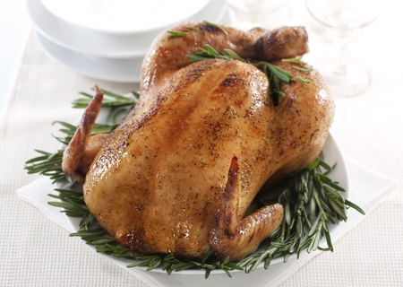 Fresh roasted chicken with rosemary