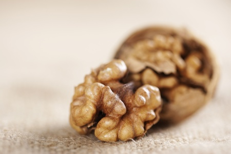 Walnuts close-up on the sackcloth background  photo