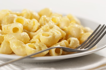 Macaroni and cheese in the plate photo