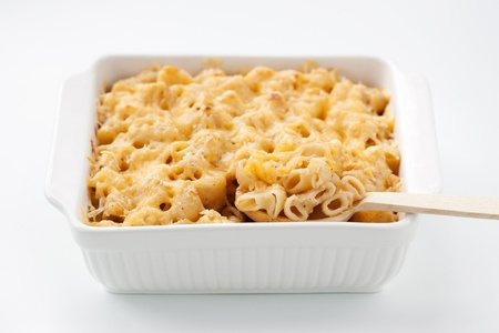 Macaroni and cheese in the casserole Stock Photo