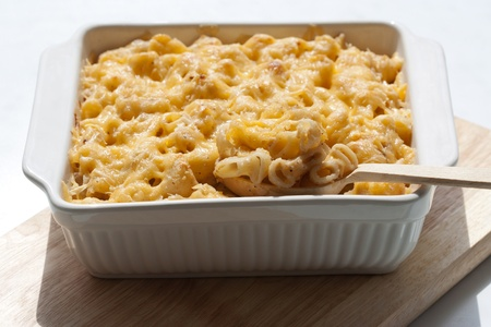 Macaroni and cheese in the casserole photo