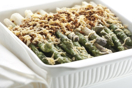 Asparagus gratin in baking dish