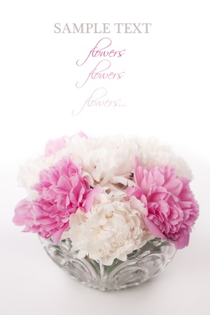 Vase of beautiful peony flowers
