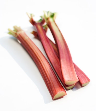 Fresh organic rhubarb isolated on white background