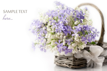 flower petal: Bouquet of spring flowers in basket on white background