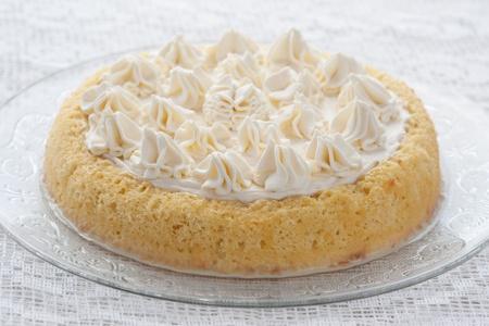 Tres leches cake on white background Stock Photo