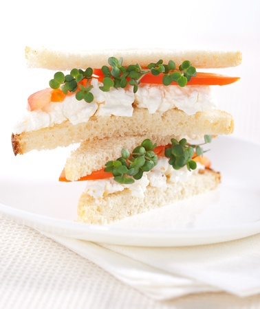 Vegetarian sandwiches with cottage cheese, tomatoes and mustard sprouts photo