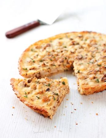 Сauliflower and caramelized onion tart  Stock Photo