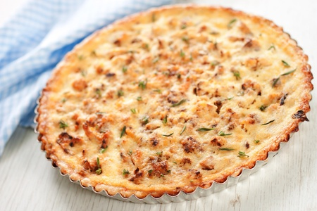 Ð¡auliflower and caramelized onion tart  Stock Photo
