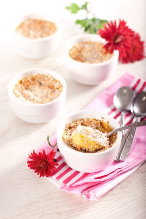 souffle: Baked pumpkin and coconut souffle in white bowls