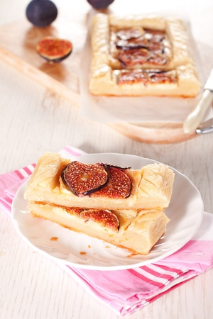 Gourmet puff pastry tart with figs, cheese and honey Stock Photo - 11207767