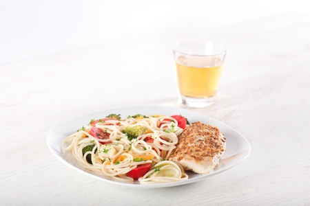 Pasta primavera and chicken breast in french mustard Stock Photo - 11207768