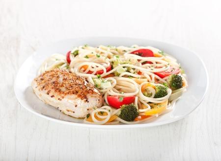 Pasta primavera and chicken breast in french mustard Stock Photo - 11207769