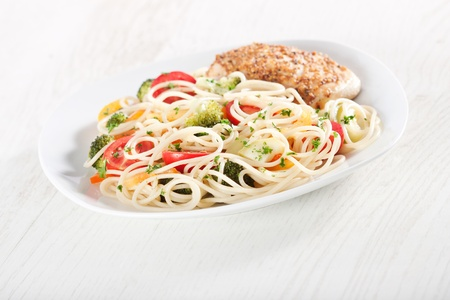Pasta primavera and chicken breast in french mustard