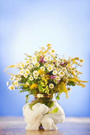 Beautiful bouquet of wildflowers in vase on blue background Stock Photo - 14842391