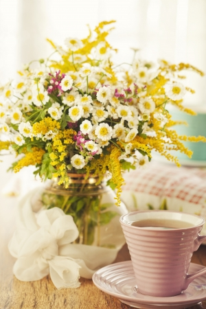 Two cups of tea and summer flowers Stock Photo - 14842396