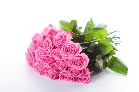 Bouquet of pink roses isolated on white background Stock Photo - 14953897