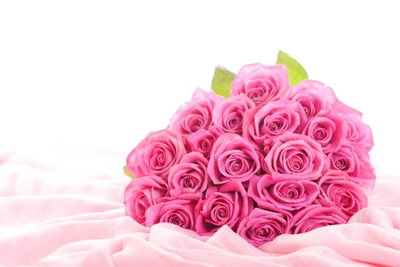 bridal bouquet: Bouquet of pink roses isolated on white background Stock Photo