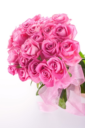 Bouquet of pink roses isolated on white background Stock Photo - 14953885