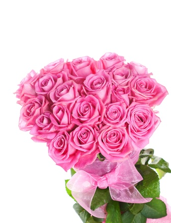 Bouquet of pink roses isolated on white background Stock Photo - 14953873