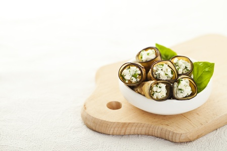 Tasty eggplant rolls stuffed with cottage cheese Stock Photo - 14953886