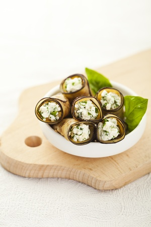 Tasty eggplant rolls stuffed with cottage cheese Stock Photo - 14953887